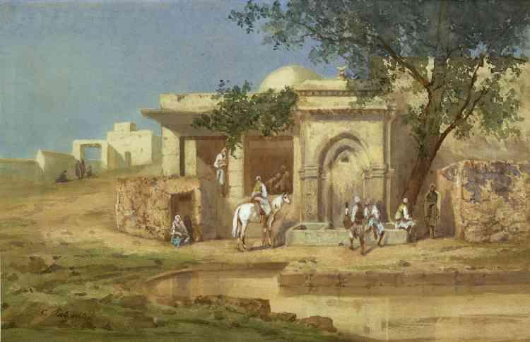 «Cette très belle aquarelle représente probablement une fontaine à Alger. Dans la lumière puissante et crue de l'été oriental, un cavalier vient s'abreuver dans une belle fontaine architecturée, typique de la capitale algérienne.»