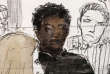 This courtroom sketch created on February 13, 2018 at the courthouse of Pontoise, northwest of Paris, shows a 29-year-old defendant (C) seated in the dock during his trial behind closed doors for alleged sexual assault on an 11-year-old girl in April 2017. A French court was hearing the case on February 13 of a then 28-year-old man who avoided rape charges after having sex with an 11-year-old after prosecutors judged that the intercourse was consensual. The lawyer representing the girl and her parents has asked for the case to be adjourned and a rape charge to be applied, insisting that the child was shocked, intimidated and threatened by the defendant. - ALTERNATIVE CROP / AFP / Benoit PEYRUCQ / ALTERNATIVE CROP