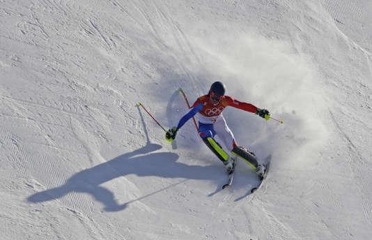 AlexisPinturault lors de l'épreuve de slalom du combiné, le 13février.