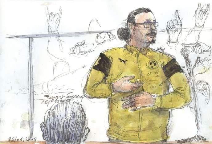 Croquis d'audience représentant Jawad Bendaoud lors de l'audience du 26 janvier, au tribunal de Paris.
