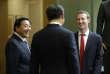 Lu Wei (à gauche) avec Xi Jinping, le président chinois,et Mark Zuckerberg, le fondateur de Facebook, à Redmond, dans l'Etat de Washington, le 23 septembre 2015.