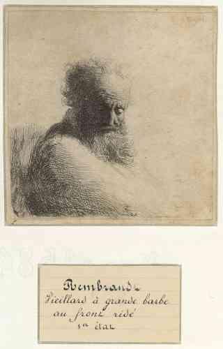 """«Dans ces jeunes années, Rembrandt a dessiné de nombreux vieillards barbus proches de cette gravure: des sanguines sont conservées à Stockholm (Nationalmuseum), à Paris (Louvre), Washington (National Gallery of Art), d'autres dessins sont à Haarlem (Teylers Museum) et Berlin (Kupferstichkabinett). On retrouve le même modèle dans une peinture du Louvre, """"Ermite lisant"""", dont l'attribution à Rembrandt est cependant rejetée. L'artiste a souvent privilégié des portraits de personnes âgées, dont ses propres parents.»"""