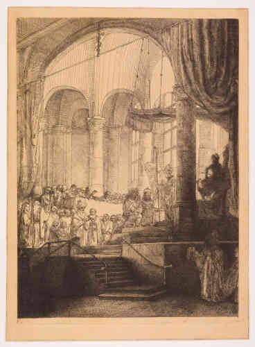 «Après un voyage à Rome à l'âge de 22ans, JanSix consacra à Médée une tragédie en vers d'inspiration antique créée à Amsterdam en 1647, à l'instar d'Euripide ou Corneille. Rembrandt illustra l'ouvrage publié en 1648 de son ami Six. Après avoir répudié Médée, Jason, héros de la Toison d'or, épouse Créuse, la fille de Créon, roi de Corinthe, ici vêtu d'hermine et portant un sceptre, derrière le couple. Agenouillés dans un temple inspiré de la Hollande protestante, les époux échangent leur serment devant un pontife de dos. Mais à contrejour à droite la statue de Junon, épouse de Jupiter et protectrice des femmes mariées, assise sur un trône orné d'un paon, annonce le drame: Médée arrive pour se venger, dissimulée sous des voiles, avec une suivante portant sa traîne; elle tient de la main gauche un poignard.»