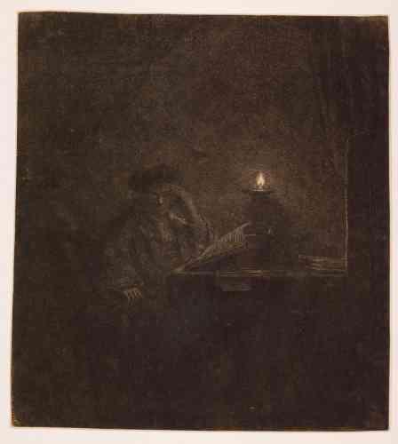«Au XIXesiècle, les spécialistes voyaient un autoportrait de Rembrandt dans cette estampe, la plus sombre de toutes ses gravures: la planche est travaillée jusqu'à la limite de la visibilité. La scène nocturne est éclairée par une source de lumière artificielle.Ces effets, très complexes à rendre en gravure, témoignent de l'influence de Caravage, dont les contrastes violents d'ombre et de lumière ont influencé de nombreux artistes comme Georges de LaTour, en France.»