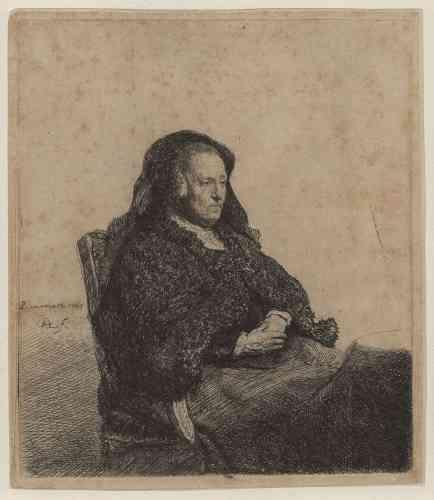 «Quand Rembrandt commence à graver, il utilise son visage et ceux de ses parents. Ce second portrait gravé de sa mère en habit de veuve, le plus réussi, donne de la vieillesse une image digne et sereine. Rembrandt, qui venait de s'installer à Amsterdam, veut montrer son habileté de graveur. La femme âgée, enveloppée dans des voiles sombres, se détache avec force sur le fond blanc laissé en réserve dans une attitude officielle, sereine et un peu distante (elle ne regarde pas l'artiste). Rembrandt a d'abord gravé la figure de sa mère, puis a ajouté la table, qui se superpose à la jupe de la vieille femme.»