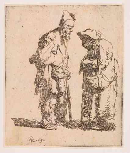 """«A ses débuts dans la gravure, Rembrandt se consacre à de simples études au trait; le thème des mendiants est un de ses sujets préférés. Le personnage masculin est ici très proche de la gravure précédente. Sa première signature, """"RHL"""", est un monogramme comprenant son prénom: Rembrandt, le prénom de son père, Harmenszoon (qui signifie fils d'Armand) et la ville où il est né. Plus tard, Rembrandt signera de son seul prénom, comme Raphaël ou Michel-Ange.»"""