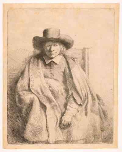 «Graveur et expert en objets d'art, Clément de Jonghe (1624-1677) est l'un des principaux éditeurs et marchands d'estampes d'Amsterdam; il aidait Rembrandt à spéculer sur ses gravures dans toute l'Europe. Ce portrait frappe par sa simplicité: l'homme pose dans une attitude naturelle, sous un éclairage inexistant –véritable tour de force. Dans ce premier état, l'artiste utilise un fond neutre, puis Rembrandt l'a repris, modifiant le regard du modèle dans les neuf états suivants: ici, il observe l'artiste d'un air scrutateur et un peu méfiant, puis il sera tour à tour pensif, puis plus froid et distant.»