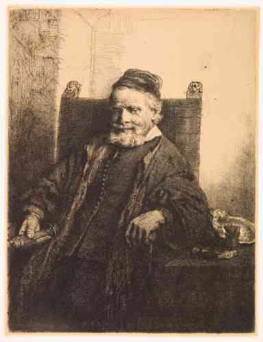"""«Né à Emden en Allemagne, l'orfèvre Jan Lutma (1584-1669), après un séjour à Paris, s'installa à Amsterdam en 1621 et reçut des commandes officielles. Son fils, Jan Lutma le Jeune, était graveur: c'est à lui qu'on doit l'inscription sur la planche qui permet d'identifier son père. Il tient à la main droite un candélabre et on voit à côté de lui ses outils, un marteau et un burin, ainsi qu'une écuelle à motif chantourné. L'artisan dont la devise était """"Rien sans peine"""", montre une certaine bonhomie satisfaite après une longue vie de travail.»"""