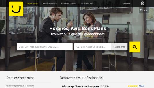 Page d'accueil du site Pages Jaunes, édité par le groupe SoLocal.