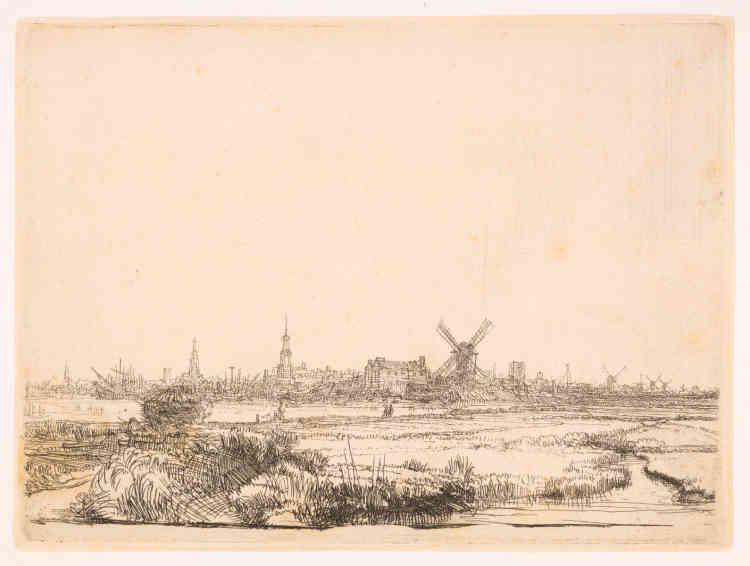 «Les paysages de Rembrandt s'inspirent des abords d'Amsterdam. Ce serait l'un de ses premiers paysages gravés. L'artiste a sans doute dessiné sur place tant la vue est exacte, bien qu'inversée par la gravure. Le ciel, qui occupe les deux tiers de la composition, est laissé en blanc et éclaire ainsi le paysage, selon le procédé des hollandais qui créent le paysage pur au début du XVIIesiècle. Au premier plan, des touffes herbeuses assez sombres accrochent le regard et l'orientent vers l'immensité du polder au second plan, animé de petits personnages. A l'horizon, la ville se dresse dans un léger brouillard rendu par l'eau-forte.»