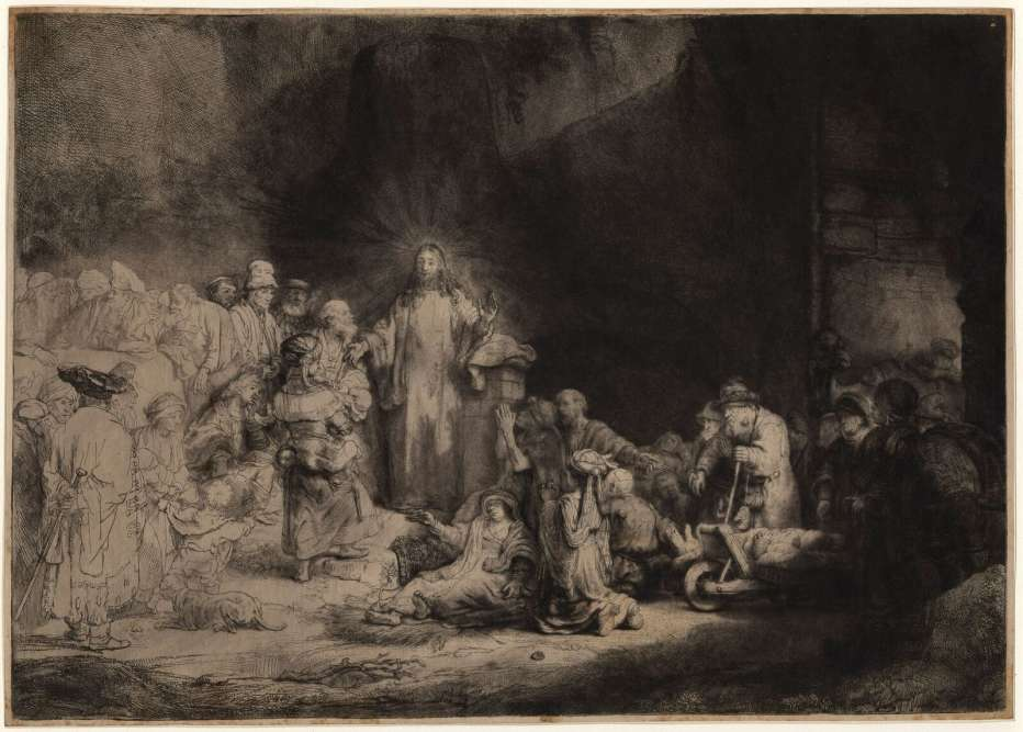 """«Ici, à l'apogée de sa carrière, dans ce thème inhabituel montrant un Christ décentré se détachant sur la muraille, au centre d'un jeu d'ombres et de lumière, Rembrandt rassemble plusieurs paraboles de la vie publique du Christ: à droite, la guérison des malades et des infirmes; au centre, """"Laissez venir à moi les petits enfants"""", à gauche les pharisiens qui tournent le dos et le jeune homme riche accroupi, la main au menton. Du fait du titre réducteur, l'estampe est souvent appelée """"La pièce aux cent florins"""", du titre commercial qui lui fut donné du vivant de Rembrandt (l'artiste aurait échangé une épreuve contre plusieurs tailles-douces du graveur de Raphaël, Marc-Antoine Raimondi).»"""