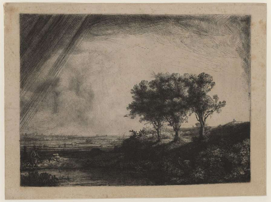«Ce grand et impressionnant paysage est la première gravure hollandaise du XVIIesiècle qui tente de rendre une variation atmosphérique par un contraste d'ombre et de soleil. Le regard est d'abord attiré par les trois arbres; un ciel lourd déverse à gauche une pluie d'orage, traduite par des stries vigoureuses. Rembrandt réutilise un cuivre mal effacé (on distingue dans le ciel des jambes et des bras). On découvre ensuite les détails: le pêcheur et sa femme, les amoureux à droite, le dessinateur de dos. L'atmosphère tourmentée reflèterait le deuil de Rembrandt après la mort de sa femme, Saskia, en 1642.»