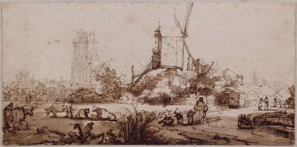 «Ce dessin est sans doute le plus beau de Rembrandt conservé à Chantilly. Il représente une vue de Dordrecht, bien que le séjour de Rembrandt n'y soit pas attesté. La scène champêtre au premier plan est surchargée d'épais traits de plume et d'un lavis qui l'assombrit encore, alors que l'arrière-plan est de plus en plus clair, comme si la ville se fondait dans la brume, avec un ciel laissé vierge –technique qui présente de nombreux points communs avec l'œuvre gravée.»