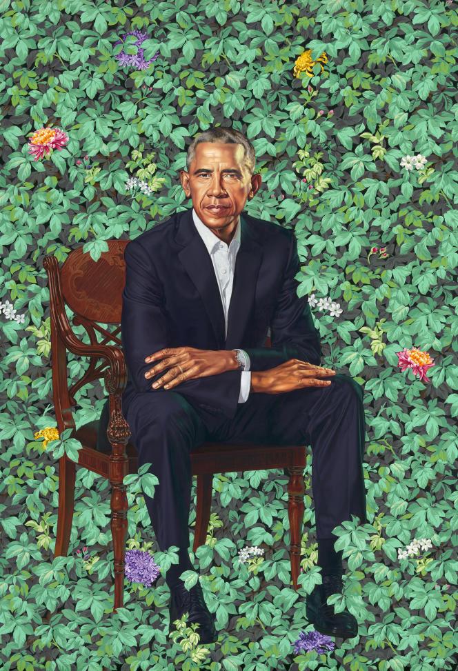 Le portrait de l'ex-président Obama parKehinde Wiley.