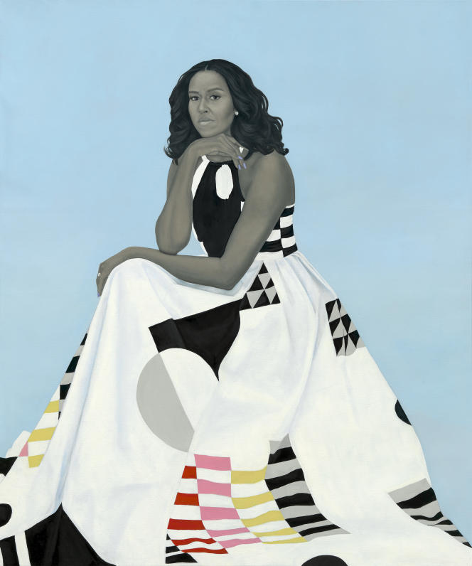 Le portrait de Michelle Obama par Amy Sherald.