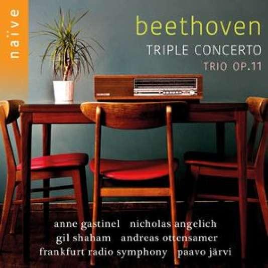 Pochette de l'album« Triple Concerto. Trio op.11», œuvres de Beethoven.Nicholas Angelich, Gil Shaham, Anne Gastinel, Andreas Ottensamer,Orchestre symphonique de la Radio de Francfort, Paavo Järvi (direction).