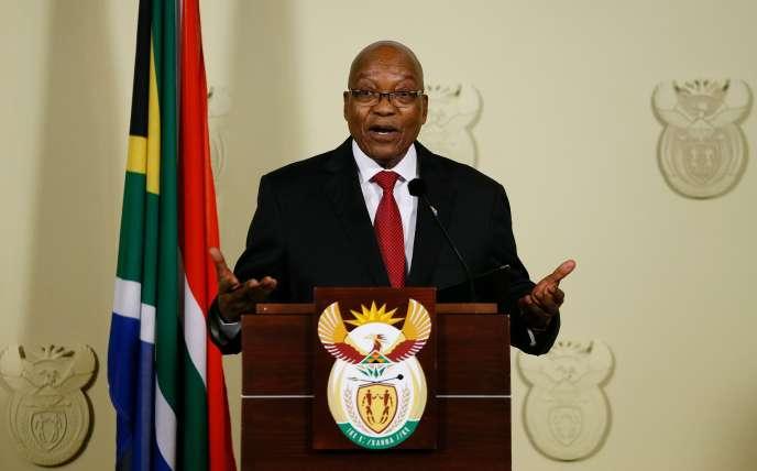 Jacob Zuma lors de l'annonce de sa démission de la présidence de l'Afrique du Sud, à Pretoria, le 14 février.