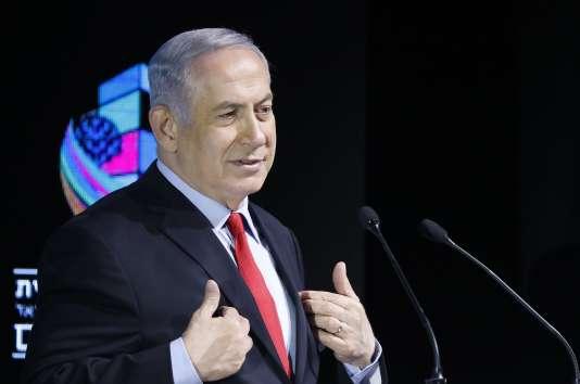 Benyamin Nétanyahou lors d'un discours à Tel-Aviv en Israël, le 14 février.