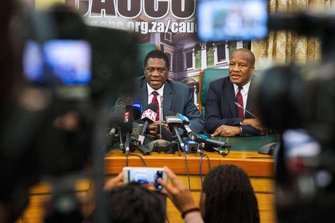 Conférence de presse de l'ANC, le 14 février, au Cap.