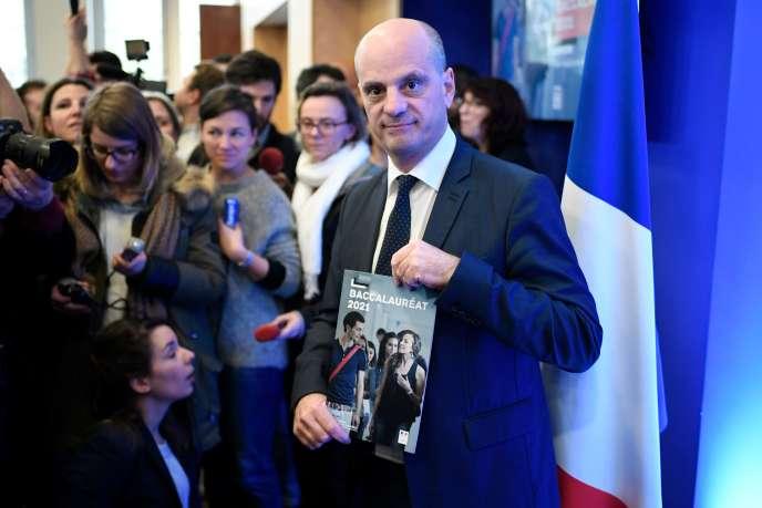 Le ministre de l'éducation nationale, Jean-Michel Blanquer, lors de sa présentation de la réforme du baccalauréat, à Paris, le 14 février.