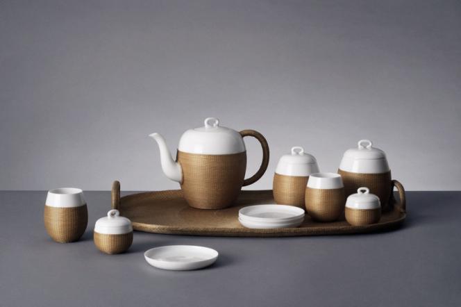 Service à thé Qiao en porcelaine et bambou signé Shang Xia.