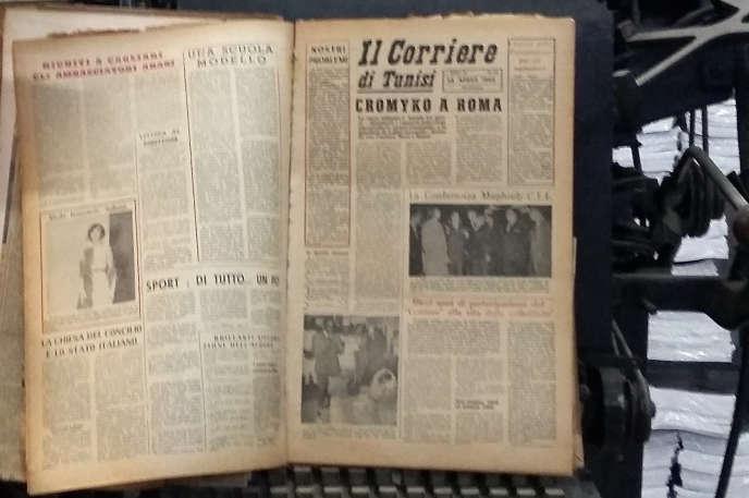 La linotype et les collections d'«Il Corriere di Tunisi», sont conservés dans les locaux historiques du journal, à Tunis, le 12 février.
