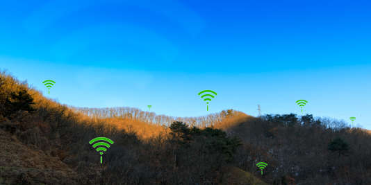 WIFI icon illustrating rural territory wireless connection concept.