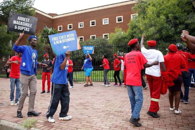 Manifestation contre la famille Gupta, le 15 février àBloemfontein.