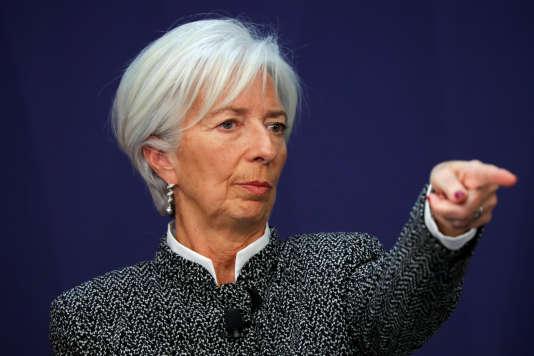 La patronne du Fonds monétaire international, Chrisitine Lagarde, lors d'une conférence le 15 février.