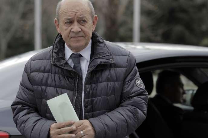 Jean-Yves Le Drian, ministre des affaires étrangères, à Sofia, en Bulgarie, le 15 février.