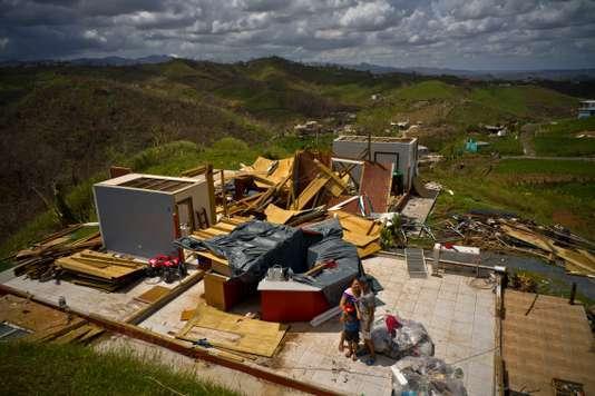 Une maison détruite dans le quartier de San Lorenzo, à Morovis, Porto Rico, le 7 octobre 2017.