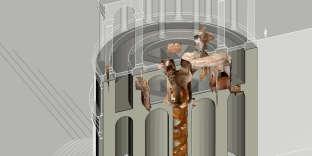 Reconstitution en 3D de la salle à manger tournante, dans la «Maison dorée» de Néron.