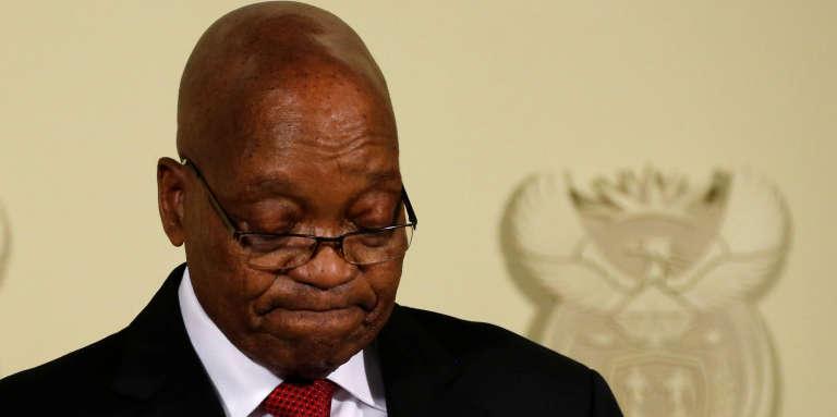 L'ancien président sud-africain Jacob Zuma lors de l'annonce de sa démission, à Pretoria, le 14février 2018.
