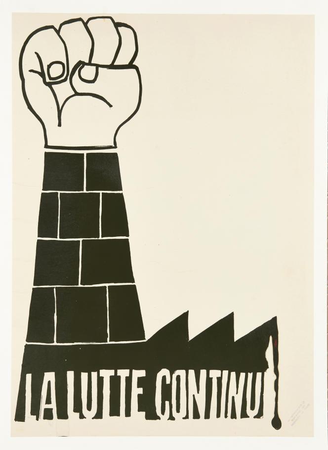 «La lutte continue». Sérigraphie 59,9 x 42,8 cm. Collection Laurent Storch, en vente aux enchères chez Artcurial.