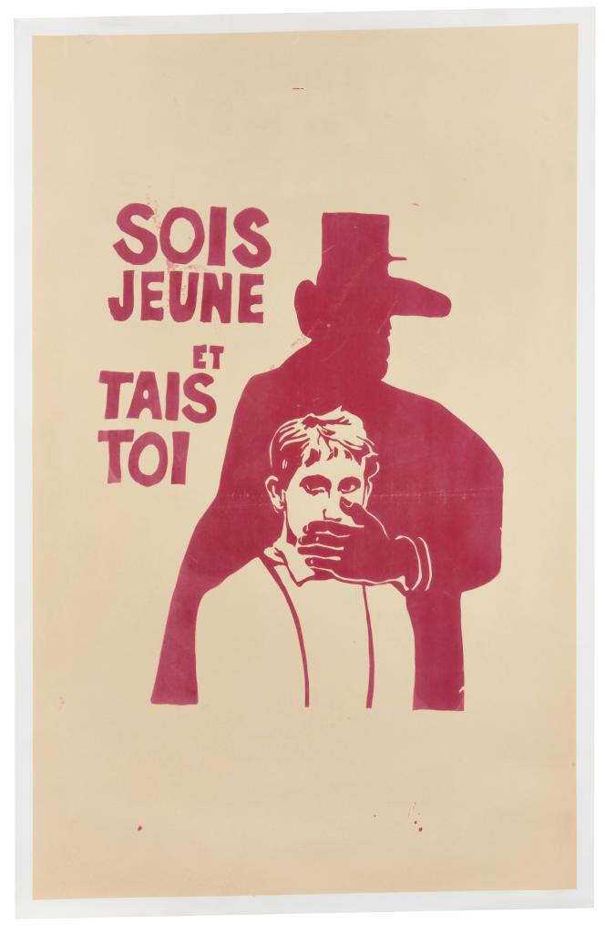 «Sois jeune et tais-toi». Sérigraphie 75,2 x 62,5 cm. Collection Laurent Storch, en vente aux enchères chez Artcurial.