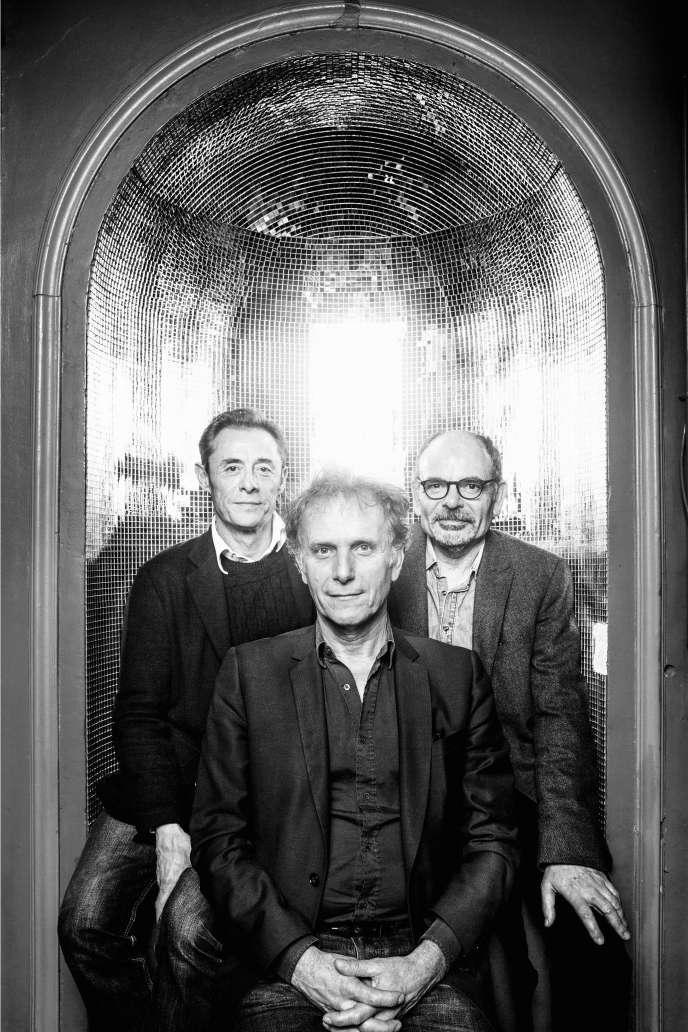 Alain Fromager, Charles Berling et Jean-Pierre Darroussin au Théâtre Antoine, à Paris, le 15 février 2018.