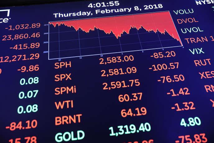 A la Bourse de New York, le 8 février.