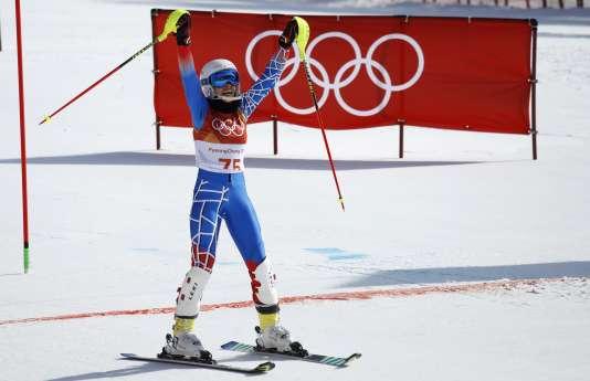 Natacha Mohbat à l'arrivée de son slalom aux JO de Pyeongchang, le 16 février 2018.