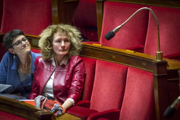 Les députés LRM Delphine Bagarry et Martine Wonner à l'Assemblée nationale à Paris, jeudi 15 février 2018.