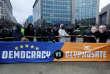 Manifestation à Bruxelles, le 27 novembre 2017, contre la proposition de renouvellement de la licence d'exploitation duglyphosatepour cinq ans par la Commission européenne.