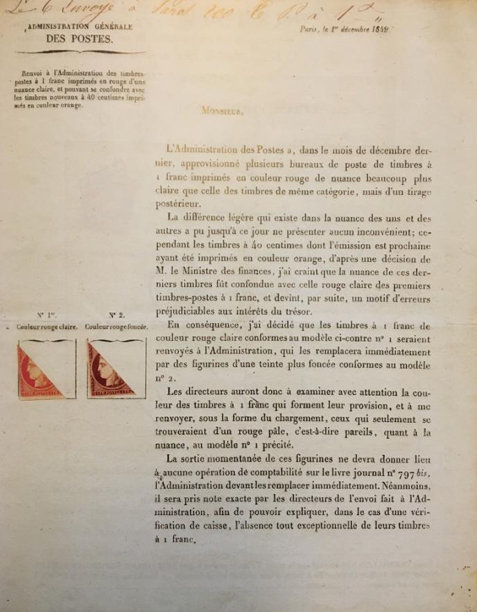Circulaire (entière, double page) de retrait du 1 franc vermillon,35 000 euros (Vente Jamet-Baudot-Pothion, clôturée le 21 février).
