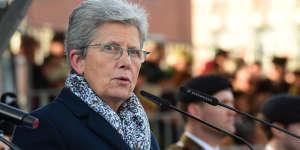 La secrétaire d'Etat Geneviève Darrieussecq, lors des commémorations du centenaire de la bataille de Cambrai, le 26 novembre 2017.