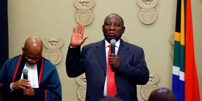 Le président sud-africain, Cyril Ramaphosa, prête serment, le 15février 2018, au Cap.