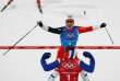 TOPSHOT - Norway's Marit Bjorgen (R) celebrates with Norway's Ingvild Flugstad Oestberg after winning the women's 4x5km classic free style cross country relay at the Alpensia cross country ski centre during the Pyeongchang 2018 Winter Olympic Games on February 17, 2018 in Pyeongchang.  / AFP / Odd ANDERSEN