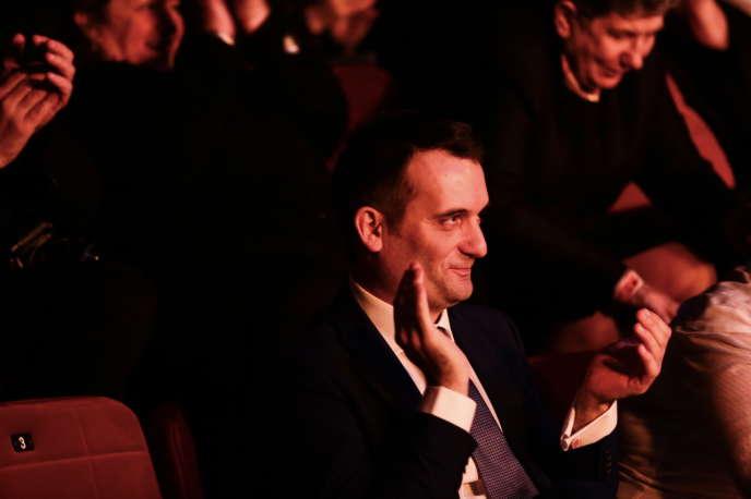Florian Philippot,dimanche 18février, dans le centre de congrès et de convention, à Arras (Pas-de-Calais), lors du premier congrès des Patriotes.