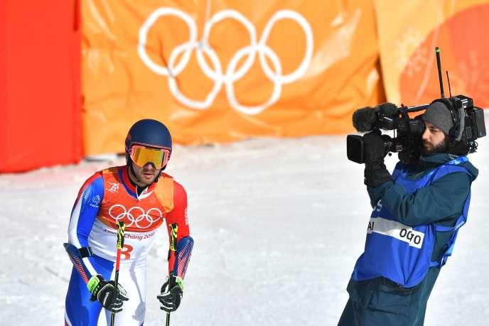 Mathieu Faivre après sa course dans le slalom géant des JO 2018, le 18 février.