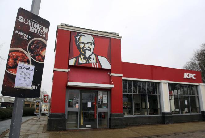 Un restaurant KFC fermé près d'Ashford, en Angleterre, le 19février.