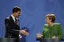 Rencontre entre la Chancellière allemande Angela Merkel et le premier ministre batave Mark Rutte, à Berlin, lundi 19février.