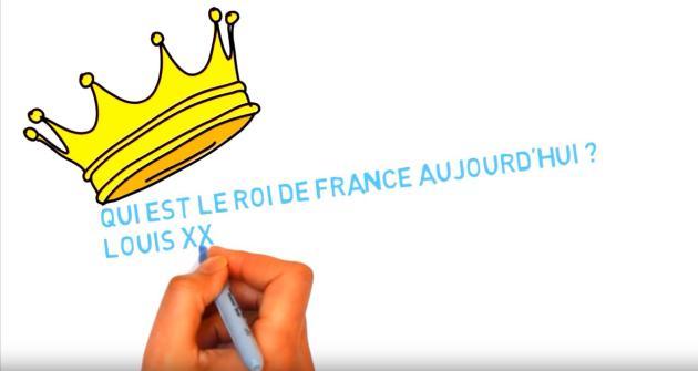 Capture d'écran de la vidéo«Qui est le roi de France aujourd'hui ? Louis XX !», qui défend la légitimité de Louis de Bourbon.