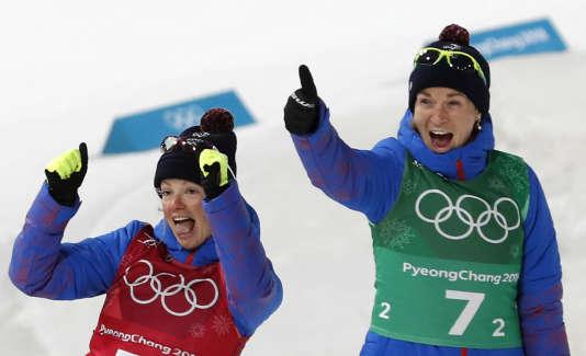 Marie Dorin a partagé sa médaille d'or du relais mixte avec Anaïs Bescond, dont elle est le plus proche dans le groupe de l'équipe de France.